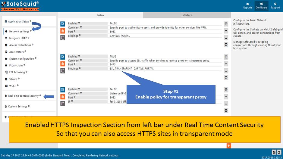 Configure Transparent Proxy - Secure Web Gateway